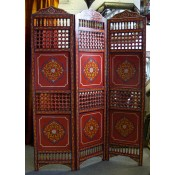 moroccan zouak hand painted wooden screen - red