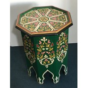 Moroccan Zouak Hand Painted Wooden Table - Green