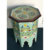 Moroccan Zouak Hand Painted Green Wooden Table