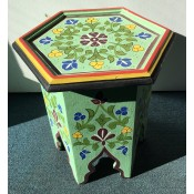 Moroccan Zouak Hand Painted Wooden Side Table - Green