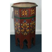 Moroccan Zouak Hand Painted Tall Wooden Table