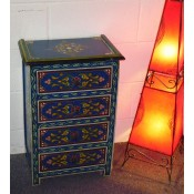 Moroccan Zouak Hand Painted Wooden Chest of Drawers - Blue