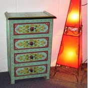 moroccan-zouak-hand-painted-chest of drawers - green