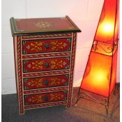 Moroccan Zouak Hand Painted Wooden Chest of Drawers - Red