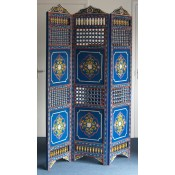 Moroccan Zouak Hand Painted Wooden Screen - Blue