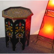 Moroccan Zouak Hand Painted Wooden Table - Black
