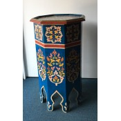Moroccan Zouak Hand Painted Wooden Table - Blue