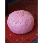 morocccan leather pouffe lpink2