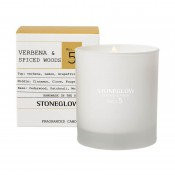 stoneglow candles - verbena & spcied woods scented candle in tumbler glass jar