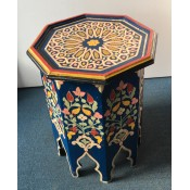 Moroccan Zouak Hand Painted Blue Wooden Table